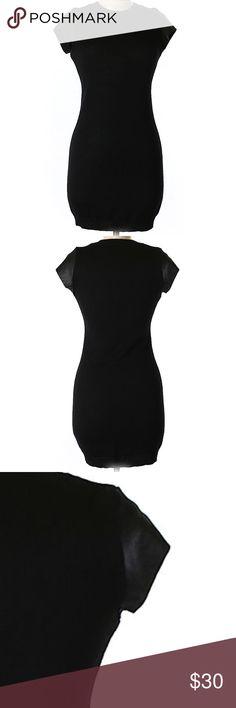 "NWOT- Susana Monaco Wool Dress Gorgeous Susana Monaco Black dress. It has 100% lamb leather sleeves. 34"" chest and 33"" long. Bodycon silhouette, 50% merino wool and 50% acrylic. Susana Monaco Dresses Midi"