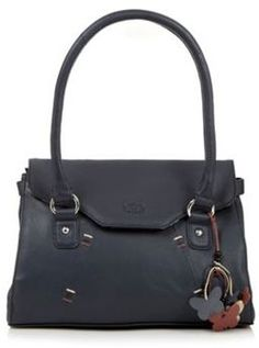 Navy leather contrast stitched shoulder bag on shopstyle.com.au