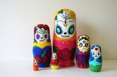 Fantastic DOTD wooden Russian style nesting dolls. #matryoshka #Day_of_the_Dead #decorations