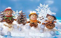 Tannenzapfen Männchen im Schnee basteln Mehr
