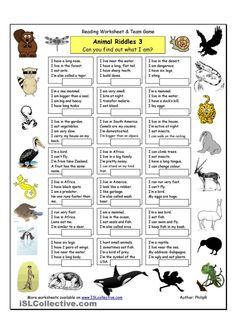 Animal Riddles 3 (Hard) - English ESL Worksheets The Effective Pictures We Offer You About scary Riddles A quality picture can tell you many things. You can find the most beautiful pictures that can b Animal Riddles, Animal Worksheets, Science Worksheets, Reading Worksheets, Vocabulary Worksheets, Animal Games, Printable Worksheets, Printables, English Games