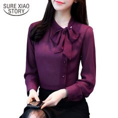 new bow neck women's clothing spring long-sleeved chiffon women blouse shirt solid purple formal women tops blusas 30 ladies elegant work wear clothes slim tops Casual Skirt Outfits, Mode Outfits, Fashion Outfits, Fashion Women, Fashion Top, Female Fashion, Fashion Black, Dress Fashion, Cheap Womens Tops