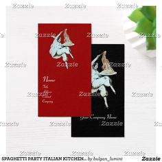 SPAGHETTI PARTY ITALIAN KITCHEN, RESTAURANT red Business Card #food #cook #mask #cuisine #culinary #chef #pulcinella
