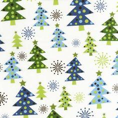Blue & green Christmas fabric