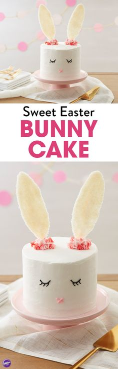 Sweet Easter Bunny Cake - With dreams of jelly beans, chocolates and colorful candy eggs, this Sweet Easter Bunny Cake features simple decorations and has sparkly candy ears that are sure to catch everyone's eye. Also fun for baby showers or birthday parties.
