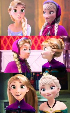 Elsa , Anna & Rapunzel << the top one is the best one I have ever seen with Rapunzel as Elsa