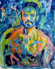 Love Sucks by RD Riccoboni acrylic painting on paper #selfie #selfportrait #beardedartist #gayportrait #beardporn #gayillustration #gayart