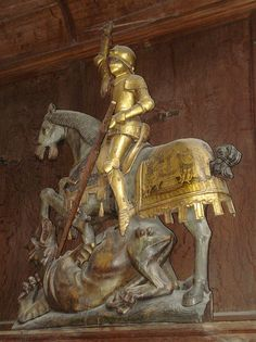 1486 - 'St. George' (Jan Mertens), Antwerpen, Sint-Leonarduskerk, Zoutleeuw, province of Flemish Brabant, Belgium By roelipilami Roel Renmans  This photo was taken on July 8, 2008 in Zoutleew, Vlaams Brabant, BE, using a Sony DSC-W55.