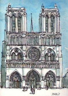 notre dame watercolor   Paris Notre Dame original watercolour by AndreVoyy on Etsy