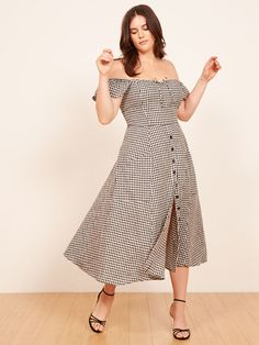 REFORMATION | $218 | black and white gingham off the shoulder bardot button through skirt Francis dress