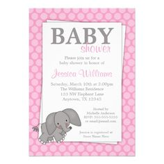 Elephant Pink Dots Girl Baby Shower Custom Invitations