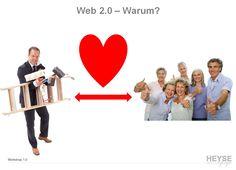 Web2.0 - Warum ?     Fakten:    Soziale Medien sind ideale Plattformen, um mit Menschen zu kommunizieren    Austausch, Mehrwerte & Transparenz werden so authentisch transportiert und es beginnt eine Unterhaltung    Meinungsbilder & Gespräche entstehen, Weiterempfehlungen, Tipps & Tricks bekommen einen noch höheren Wert und eine Fangruppe baut sich auf    Der sogenannte zzgl. Vertrieb entsteht
