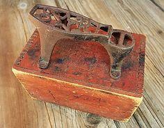 Listed on eBay week of 12/15/14 starting price at $9.99 Antique-Handmade-Folk-Art-Star-Shoe-Shine-Box-Barn-Red-Primitve-Kit-Iron-1900-NR
