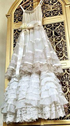 ivory white & ecru embroidered chiffon with