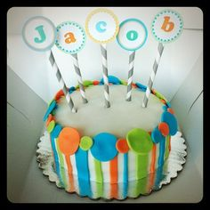 Smash Cake: Polk-a-Dot and Stripes ♥ Cute idea with the paper straw and printable letters!