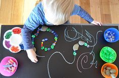 DIY table top chalkboard combind with loose parts for lots of creativity! Maybe on the light table? Play Based Learning, Learning Through Play, Early Learning, Fun Learning, Learning Activities, Preschool At Home, Preschool Themes, Whistle For Willie, Montessori