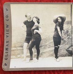 1900s Woman Man Beach Swimsuit Fashion Bathing Beauty Stereoview Albumen Photo
