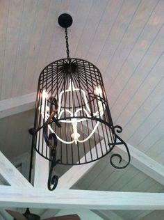 Birdcage Chandelier Lights Up a Porch