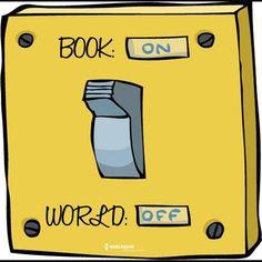 Book on, world off #readinghumor http://writersrelief.com/
