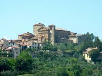 A view of Panzano in Chianti, a Tuscan hill town that lies exactly halfway between Florence and Sienna, Tuscany. It has several good restaurants and a famous butcher, Dario Cecchini. There's plentiful accommodation in the area. http://www.panzano.com/