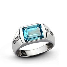 Handmade Mens ring with Blue TOPAZ and DIAMONDS in Solid Sterling Silver Jewelry