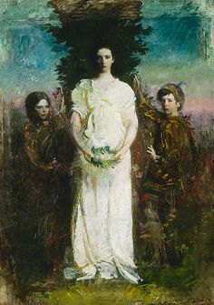 """Abbott Handerson Thayer  My Children (Mary, Gerald, and Gladys Thayer)  1897  Oil on canvas  861/4 x 611/8 in.  Smithsonian American Art Museum  ___  Abbott Handerson Thayer, known for his paintings of angels, often used his children as models. Referring to My Children, Thayer wrote of his aim to show """"three blissfully exalted children"""" in a way that """"puts beauty to the eye first, and the idea last.""""  Americanart.si.edu"""