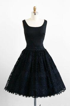 vintage 1950s black crocheted lace ballerina dress | #vintage