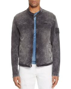 True Religion Moto Jacket | Cotton/rayon/elastane | Machine wash | Imported | Fits true to size, order your normal size | Regular fit  | Banded collar with snap tab closure, front zip closure, zip poc