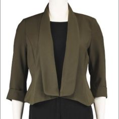 Kate Rosy Poly Crepe Open Front Jacket This Olive Green blazer has never been worn and still has the tags on it. It's perfect as an office staple or a cute jacket for any after work cocktails! It's machine washable with contoured seaming -- perfect to transition from day to night! Kate Rosy Jackets & Coats Blazers