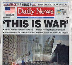 9 11 NY World Trade Center Terrorist Attack This Is War Headline Newspaper September 13 2001