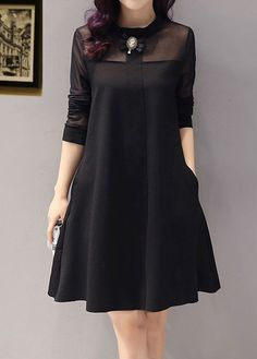 2016 Fall Fashion Korean Long Leeve Loose Size Mesh Stitching Solid Color A-line Dress Bottom Bodycon Dress Long Sleeve Maternity Dress, Long Sleeve Tunic Dress, Bodycon Dress With Sleeves, Maternity Dresses, Dresses With Sleeves, 60 Fashion, African Fashion, Fashion Dresses, Fall Fashion
