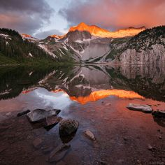 Snowmass Peak and Snowmass Mountain (14,092 ft.), reflected in Snowmass Lake - July 2011. By Jack Brauer