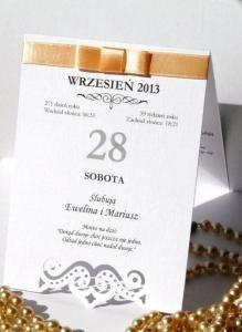 Zaproszenia ślubne na ślub kartka z kalendarza