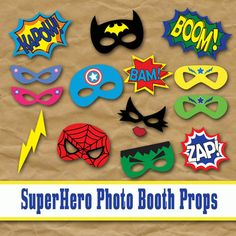 SuperHero Photo Booth Props and Decorations  Printable Props