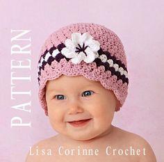 Easy Crochet PATTERN PDF 4 - Baby Girl Cloche Hat Flower - Scalloped Edging - Instant Download Modern Crochet Striped Infant Toddler Cap