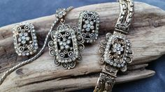 Victorian Revival set  daisy rhinestone by SteamyAntiquities