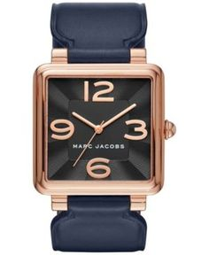 Marc Jacobs Women's Vic Navy Leather Strap Watch 34mm MJ1530 - Blue