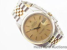 Prestine Quickset Vintage Rolex Datejust 18k Gold SS 16013