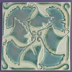 Ginkgo Leaves Arts and Crafts 6x6 ceramic tile by MUDpi on Etsy