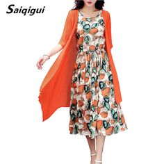 Saiqigui  Summer dress women dress casual Loose tow piece Cotton Line dress Print o-neck plus size vestidos de festa M-5XL