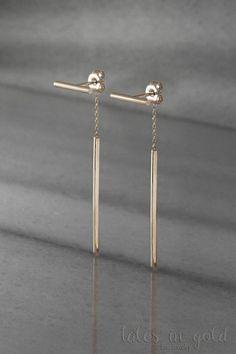 Bar Earrings Gold Earrings Dangle Earrings Yellow by TalesInGold