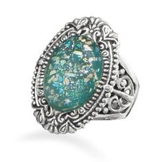 Ornate Sterling Silver Ring Featuring Genuine Ancient Roman Glass!