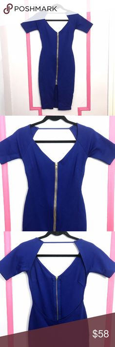Open back sexy club Midi dress bodycon party Vegas Super hot royal blue bodycon Midi dress. Gold shiny adjustable zipper in front @ large open back, sexy and chic. Fabric is stretchy and medium thick so it is flattering to body curves and not thin or cheap looking or feeling. The perfect dress for a night out at the club or that Vegas vacation you're planning with the girls. Brand new condition and never worn. Labels have been removed, was purchased from a boutique in NYC, not from bebe…