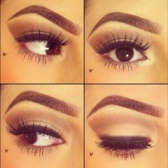 natural look w/ heavy liner on upper lash line & full brows. love this look - especially on deep brown eyes!