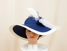 8fe51e69626 White and Navy Blue Hat Blue Floppy Hat by englishrosedesignsoh Ascot Hats