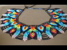 A beaded necklace. Part 1 of Beadwork. Seed Bead Patterns, Beaded Jewelry Patterns, Beading Patterns, Col Crochet, Crochet Flower Tutorial, Beaded Crafts, Necklace Tutorial, Beaded Collar, Native American Beading