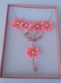 pink kanzashi jewelry kanzashi set kanzashi by NBeautifulCreations
