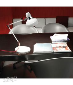 Lovely table light by @ledsc4 - La Creu Flex Table Lamp in White with Chrome Detailing and Red Flex E27 60W. Love the style and flexibility - and the price! Buy it now at www.sparksdirect.co.uk
