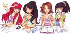 Disney high: sophomore class by Nina-D-Lux.deviantart.com on @deviantART - If Disney girls were in high school: Ariel, Jasmine, Rapunzel, and Mulan. My favourite here is Mulan - and, to be honest, based on the high schools I know...Ariel and Rapunzel would be violating dress code here.