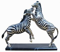 Zebras Fighting - Silver Bronze Collection BR23251 Zebras, Bronze, Cold, Silver, Animals, Collection, Animales, Money, Animaux